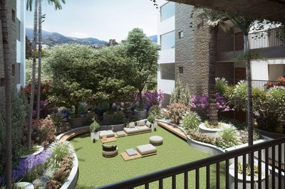 Interior gardens in apartments for sale in Quito