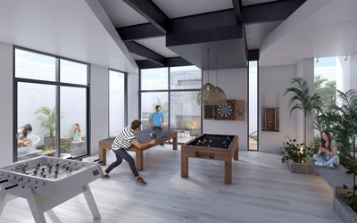 Game room in La Carolina modern apartment tower for sale in Quito