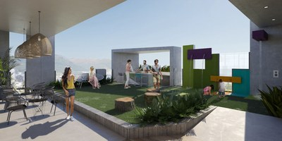 Rooftop social area with views of Quito