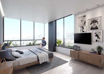 Master bedroom in modern apartment for sale in Quito