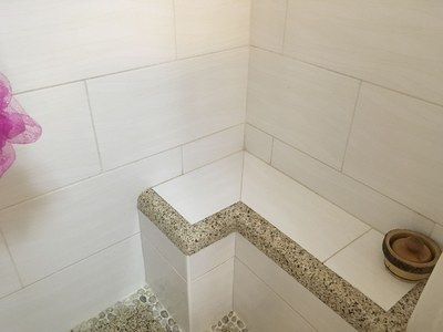 Tiled Seat In Master Bathroom Shower.